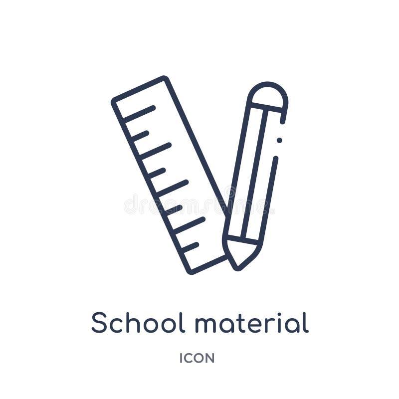 Liniowa szkolna materialna ikona od edukacja konturu kolekcji Cienkiej linii szkoły materialny wektor odizolowywający na białym t ilustracja wektor