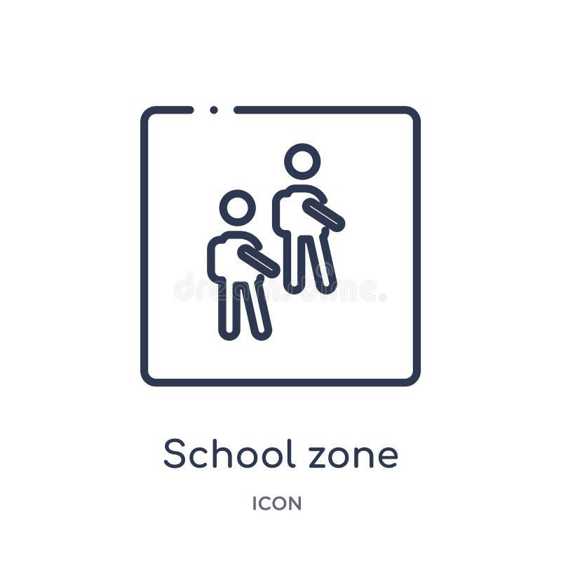Liniowa szkolna strefy ikona od map i flagi zarysowywamy kolekcję Cienka linii szkoły strefy ikona odizolowywająca na białym tle  ilustracja wektor