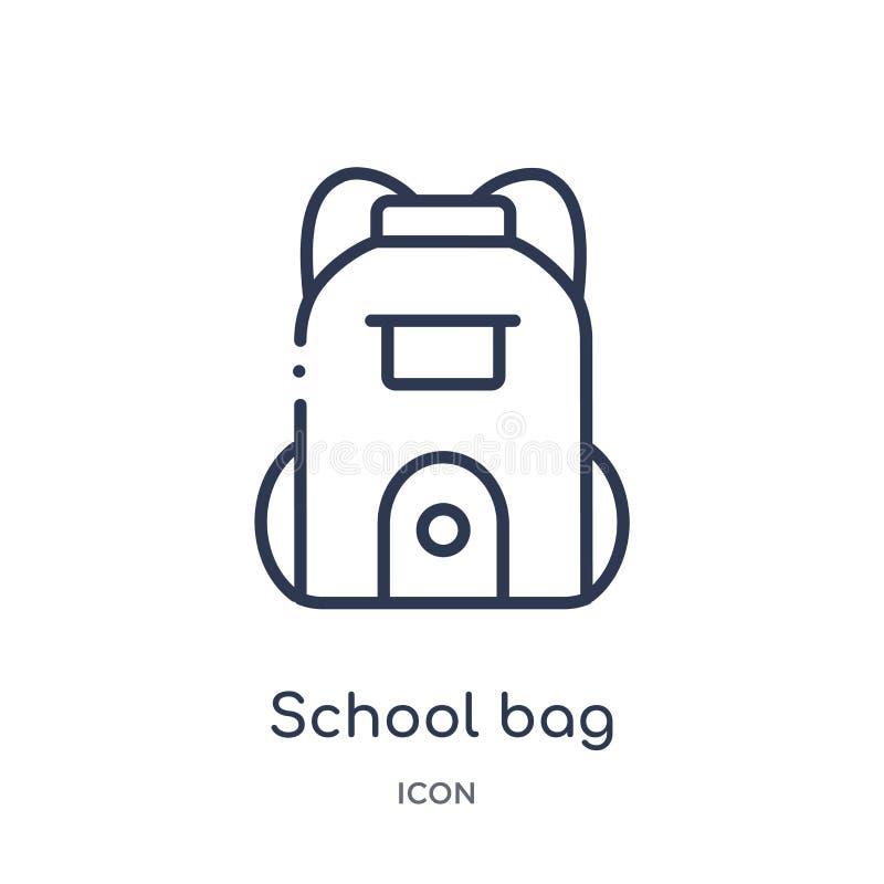 Liniowa szkolnej torby ikona od edukacja konturu kolekcji Cienieje kreskowego szkolnej torby wektor odizolowywającego na białym t ilustracja wektor