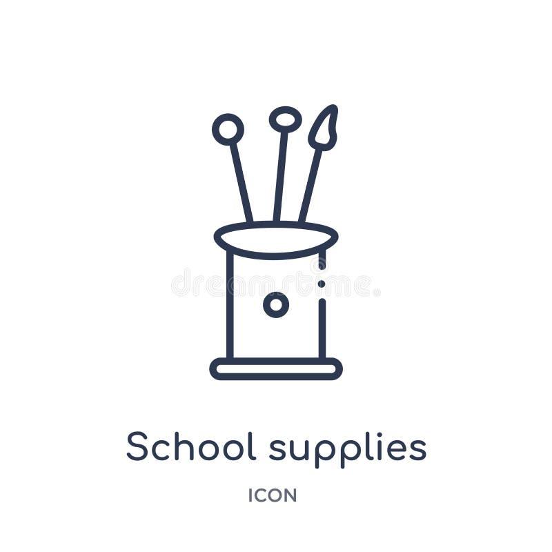 Liniowa szkolnych dostaw ikona od edukacja konturu kolekcji Cienieje kreskowego szkolnych dostaw wektor odizolowywającego na biał ilustracja wektor