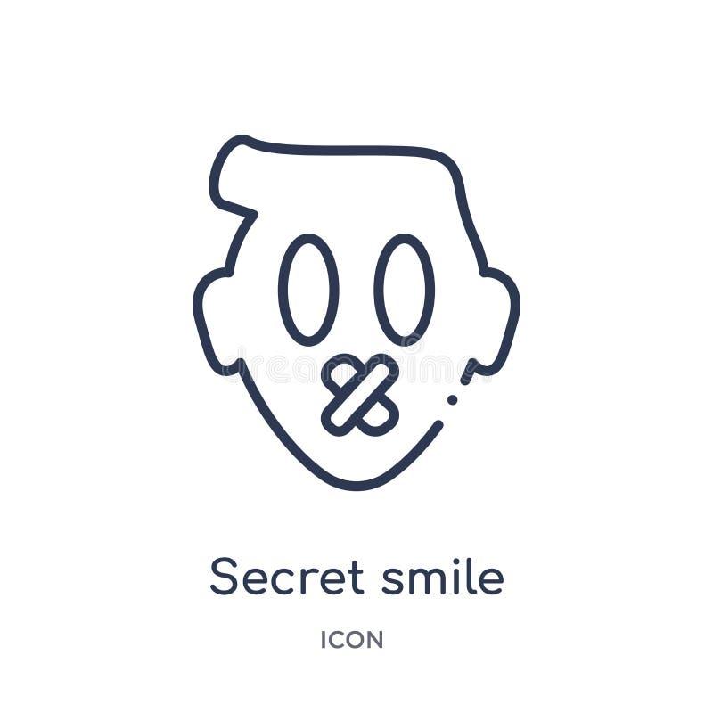 Liniowa tajna uśmiech ikona od Emoji konturu kolekcji Cienki kreskowy tajny uśmiechu wektor odizolowywający na białym tle pod prz ilustracji