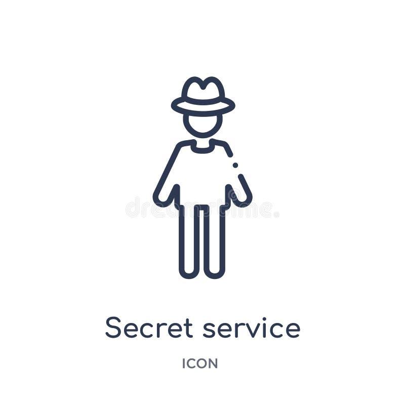 Liniowa tajnej służby ikona od Akcydensowych zysków zarysowywa kolekcję Cienieje kreskową tajnej służby ikonę odizolowywającą na  ilustracji