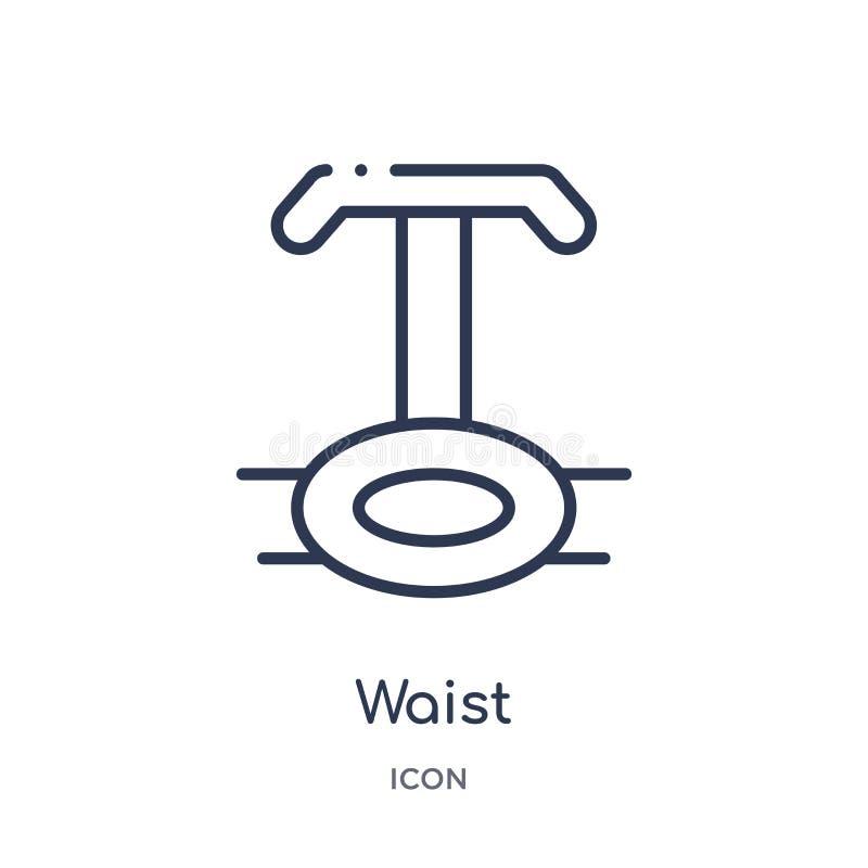 Liniowa talii ikona od Gym i sprawność fizyczna zarysowywamy kolekcję Cienieje kreskową talii ikonę odizolowywającą na białym tle ilustracji