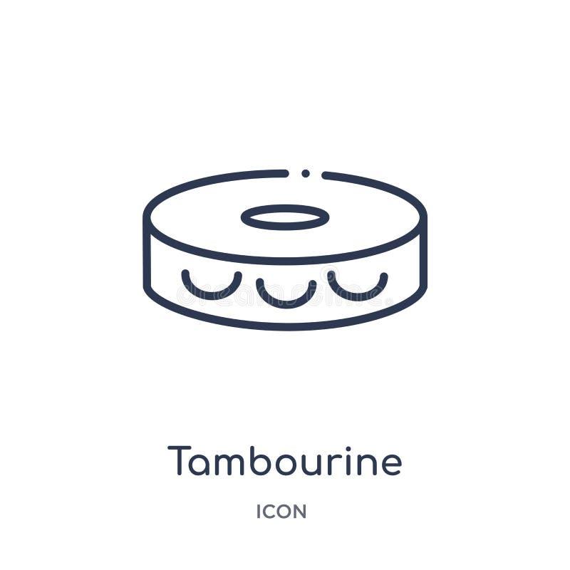 Liniowa tambourine ikona od Brazilia konturu kolekcji Cienieje kreskowego tambourine wektor odizolowywającego na białym tle tambo royalty ilustracja