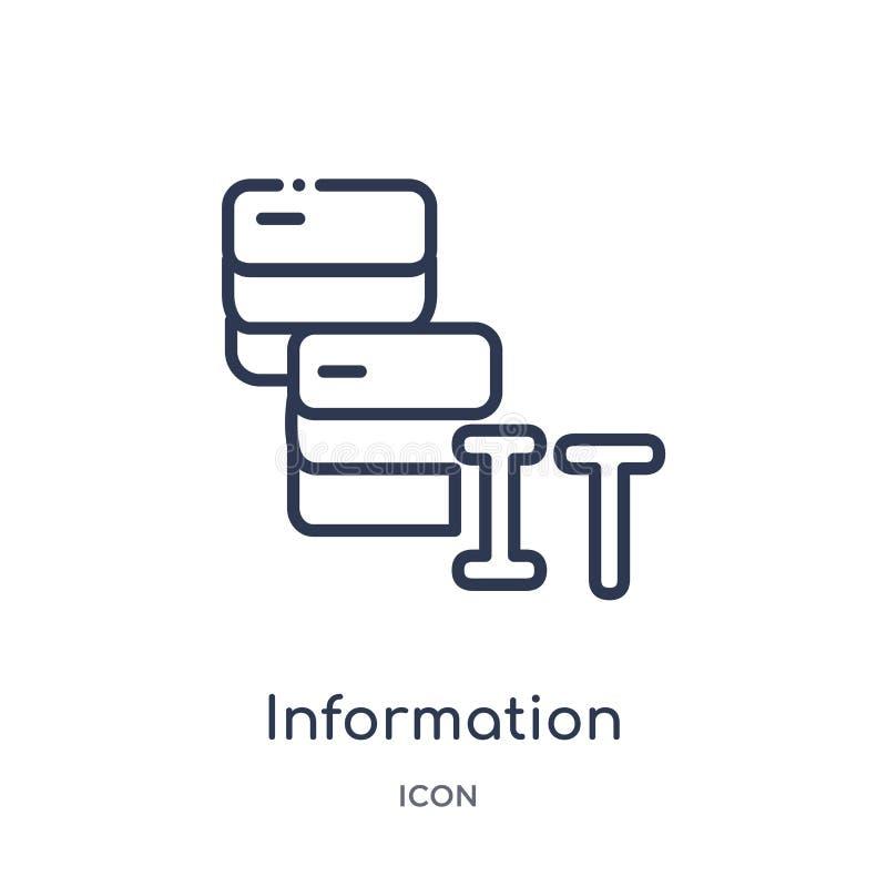 Liniowa technologie informacyjne ikona od Ogólnego konturu kolekcji Cienieje kreskową technologie informacyjne ikonę odizolowywaj royalty ilustracja