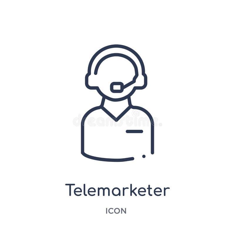 Liniowa telemarketer ikona od obsługa klienta konturu kolekcji Cienieje kreskowego telemarketer wektor odizolowywającego na biały ilustracja wektor