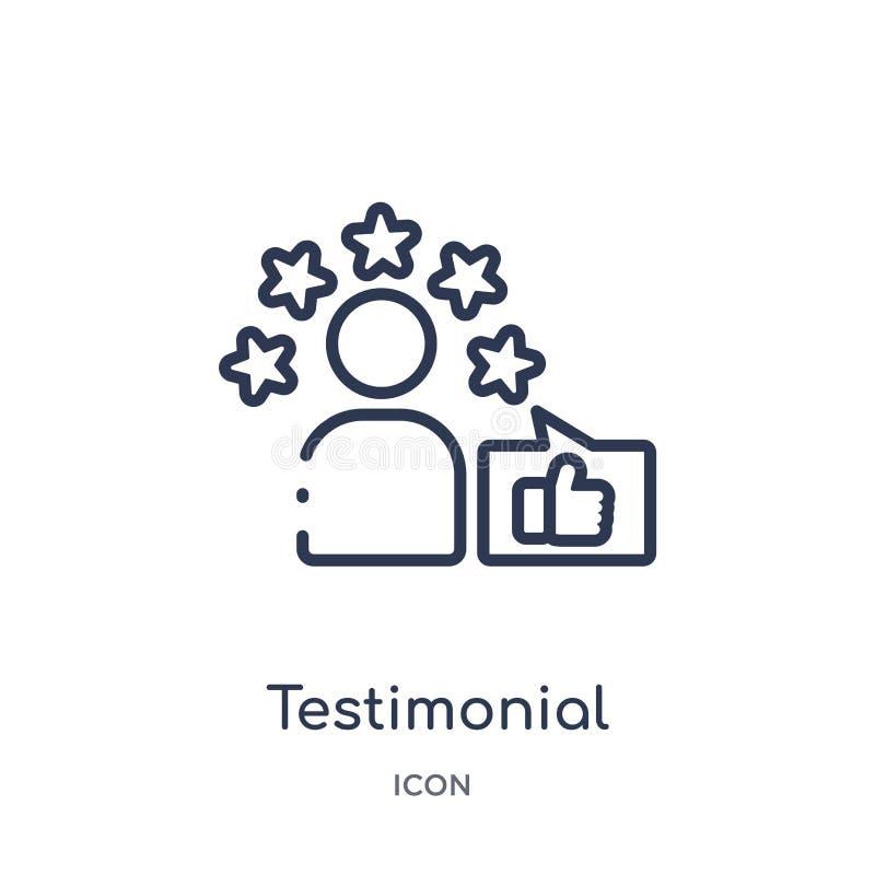 Liniowa testimonial ikona od informacje zwrotne konturu kolekcji Cienieje kreskowego testimonial wektor odizolowywającego na biał ilustracji