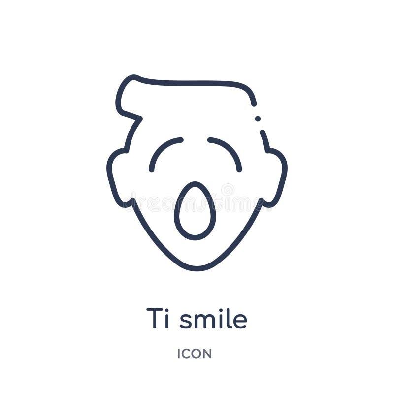 Liniowa ti uśmiechu ikona od Emoji konturu kolekcji Cienki kreskowy ti uśmiechu wektor odizolowywający na białym tle ti uśmiech m royalty ilustracja
