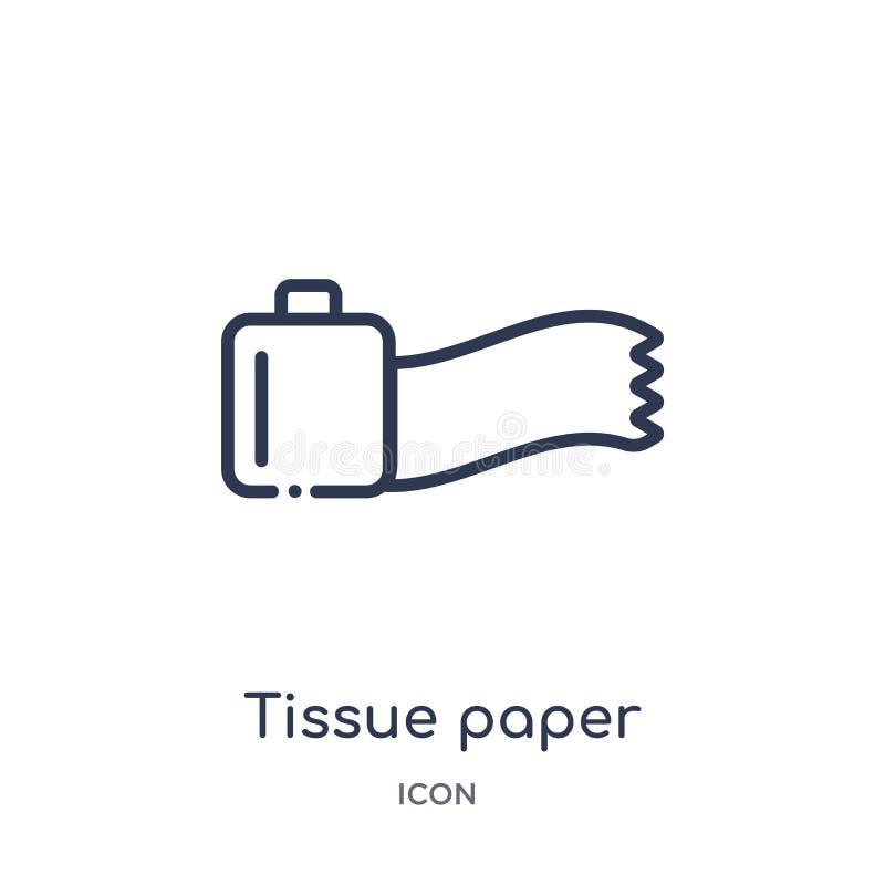 Liniowa tkankowego papieru ikona od Medycznej kontur kolekcji Cienieje kreskową tkankowego papieru ikonę odizolowywającą na biały ilustracji