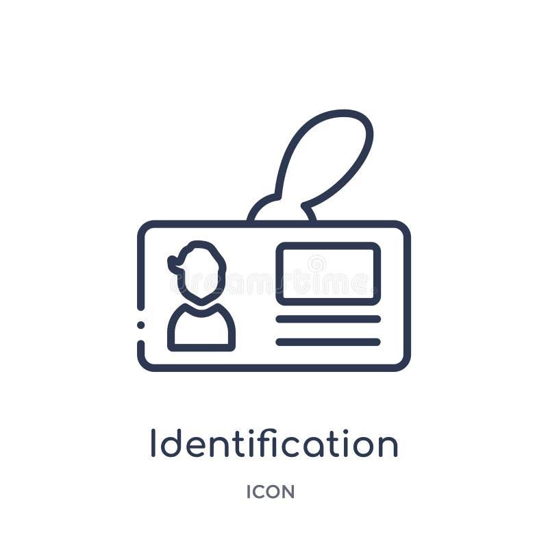 Liniowa tożsamościowa odznaki ikona od Lotniskowej śmiertelnie kontur kolekcji Cienieje kreskowej identyfikacji odznaki wektor od ilustracja wektor