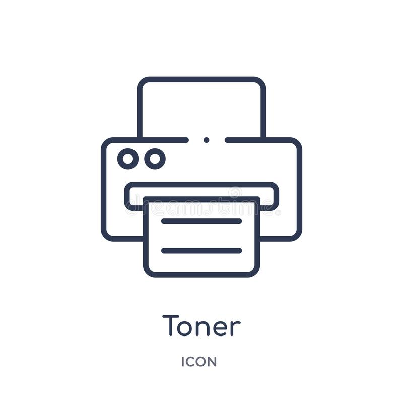 Liniowa toner ikona od elektronika konturu kolekcji Cienieje kreskową toner ikonę odizolowywającą na białym tle toner modny ilustracji