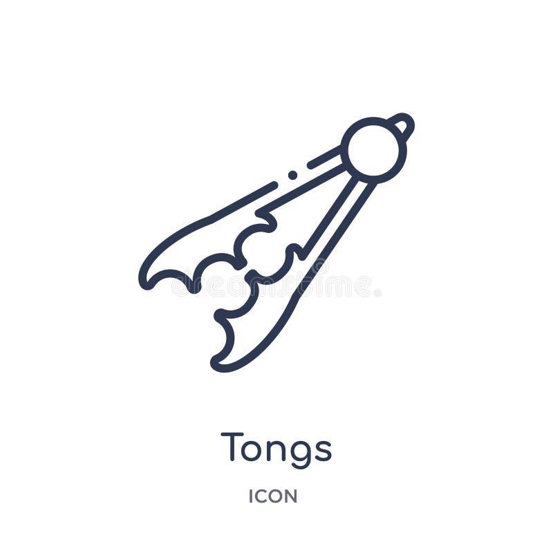 Liniowa tongs ikona od Kuchennej kontur kolekcji Cienieje kreskową tongs ikonę odizolowywającą na białym tle tongs modna ilustrac royalty ilustracja