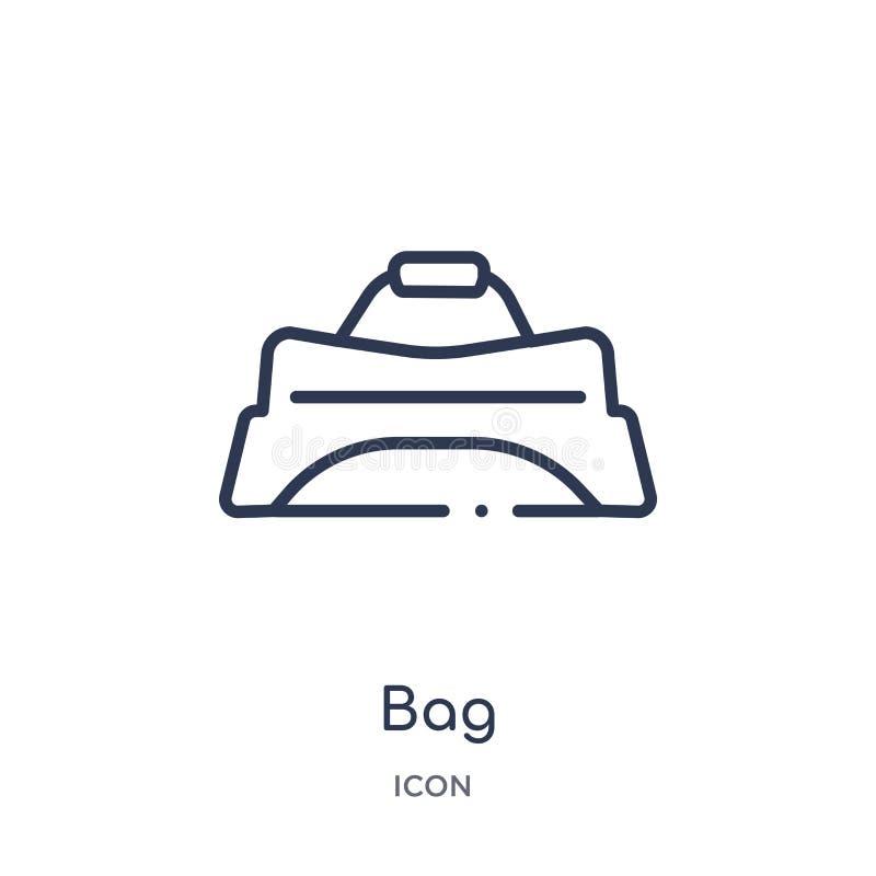 Liniowa torby ikona od Hokejowej kontur kolekcji Cienka kreskowa torby ikona odizolowywająca na białym tle torby modna ilustracja ilustracja wektor