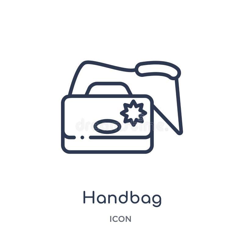 Liniowa torebki ikona od Luksusowej kontur kolekcji Cienieje kreskową torebki ikonę odizolowywającą na białym tle torebka modna royalty ilustracja