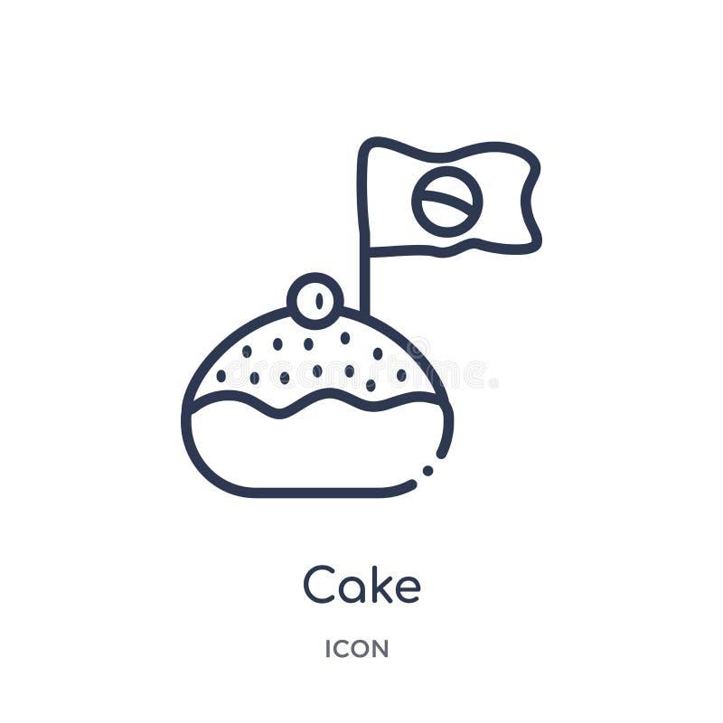 Liniowa tortowa ikona od Brazilia konturu kolekcji Cienki linia torta wektor odizolowywający na białym tle tortowa modna ilustrac royalty ilustracja