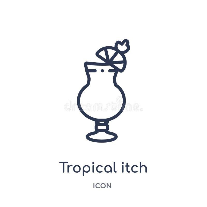 Liniowa tropikalna świąd ikona od napojów zarysowywa kolekcję Cienieje kreskowego tropikalnego świądu wektor odizolowywającego na royalty ilustracja