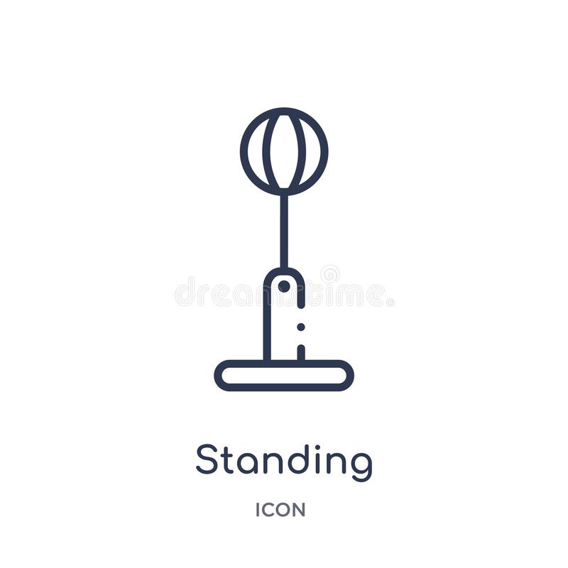 Liniowa trwanie uderza pięścią balowa ikona od Gym i sprawność fizyczna zarysowywamy kolekcję Cienieje kreskową trwanie uderza pi ilustracja wektor