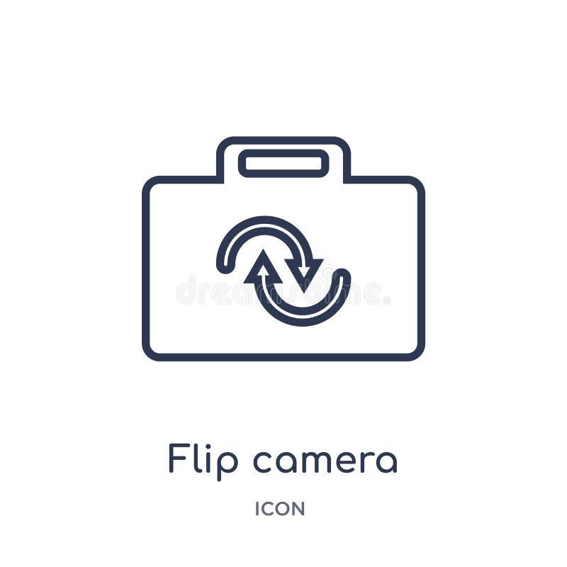 Liniowa trzepnięcie kamery ikona od Elektronicznej materiał pełni konturu kolekcji Cienki kreskowy trzepnięcie kamery wektor odiz ilustracji