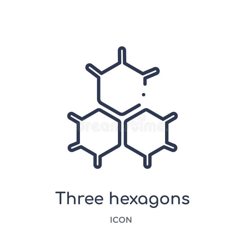 Liniowa trzy sześciokątów komórki ikona od Medycznej kontur kolekcji Cienieje linii trzy sześciokątów komórki ikonę odizolowywają ilustracji