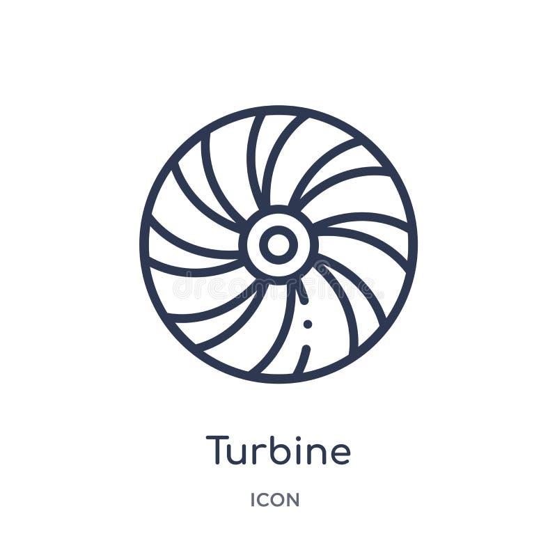 Liniowa turbinowa ikona od urządzenie elektroniczne konturu kolekcji Cienieje kreskowego turbinowego wektor odizolowywającego na  ilustracja wektor