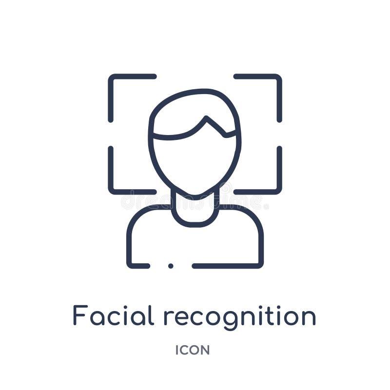 Liniowa twarzowa rozpoznanie ikona od Sztucznej inteligencji konturu kolekcji Cienieje kreskowego twarzowego rozpoznanie wektor o ilustracja wektor
