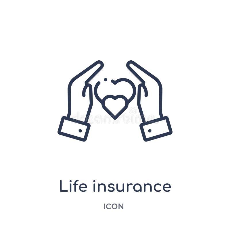 Liniowa ubezpieczenie na życie ikona od Asekuracyjnej kontur kolekcji Cienieje kreskową ubezpieczenie na życie ikonę odizolowywaj ilustracja wektor