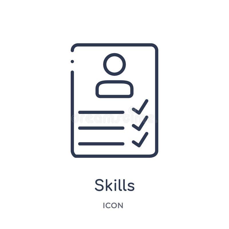 Liniowa umiejętności ikona od dział zasobów ludzkich konturu kolekcji Cienieje kreskową umiejętności ikonę odizolowywającą na bia ilustracji