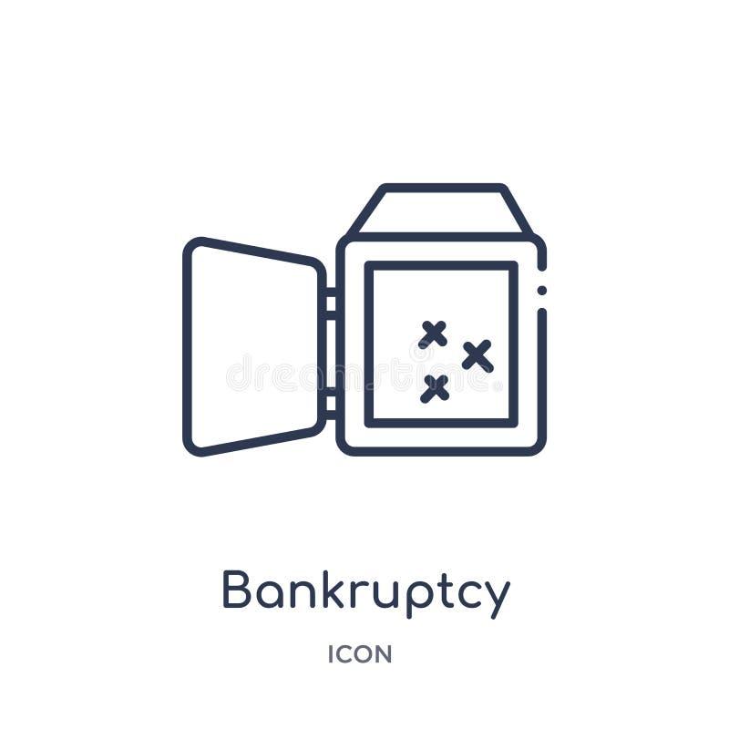 Liniowa upadłościowa ikona od prawa i sprawiedliwość zarysowywamy kolekcję Cienieje kreskową upadłościową ikonę odizolowywającą n ilustracji
