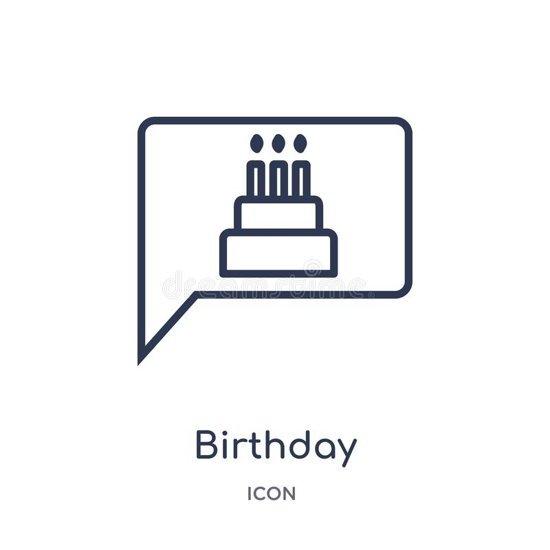 Liniowa urodzinowa zaproszenie ikona od przyjęcie urodzinowe konturu kolekcji Cienieje kreskowego urodzinowego zaproszenie wektor ilustracja wektor