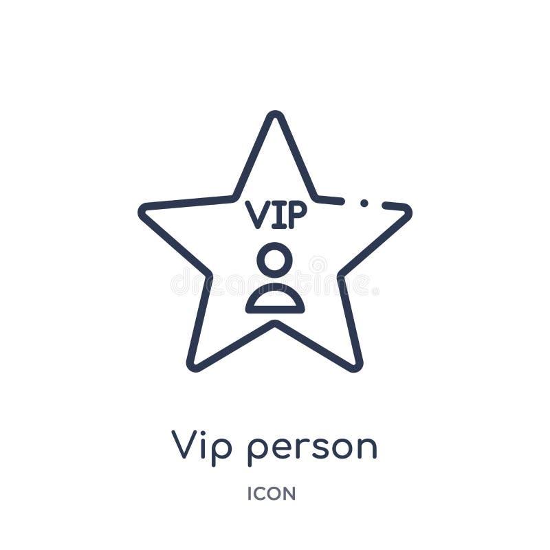 Liniowa vip osoby ikona od Kinowej kontur kolekcji Cienieje kreskowego vip osoby wektor odizolowywającego na białym tle vip osoba royalty ilustracja