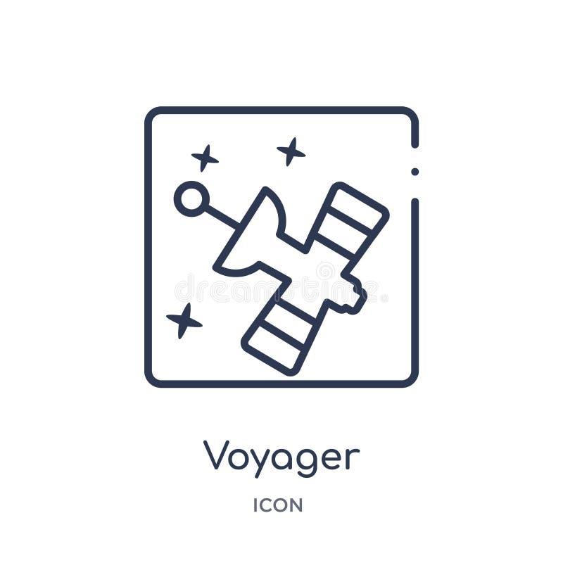 Liniowa voyager ikona od astronomia konturu kolekcji Cienieje kreskowego voyager wektor odizolowywającego na białym tle voyager m ilustracji