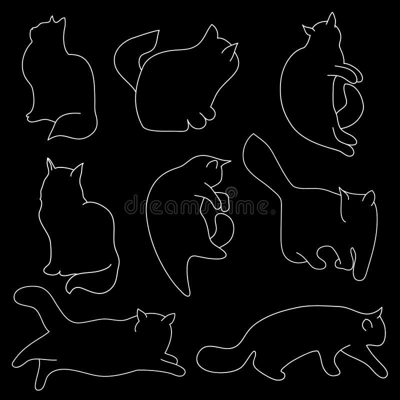 Liniowa wektorowa sztuka: kot sylwetki na czarnym odosobnionym tle Różne pozy: siedzieć, kłamający, odpoczywający, bawić się, tro ilustracji
