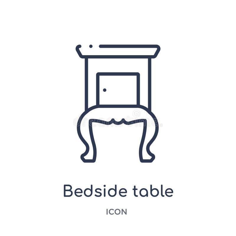 Liniowa wezgłowie stołu ikona od Meblarskiej kontur kolekcji Cienieje kreskową wezgłowie stołu ikonę odizolowywającą na białym tl ilustracji