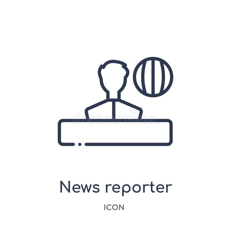 Liniowa wiadomość reportera ikona od Comunation konturu kolekcji Cienieje kreskowego wiadomość reportera wektor odizolowywającego royalty ilustracja
