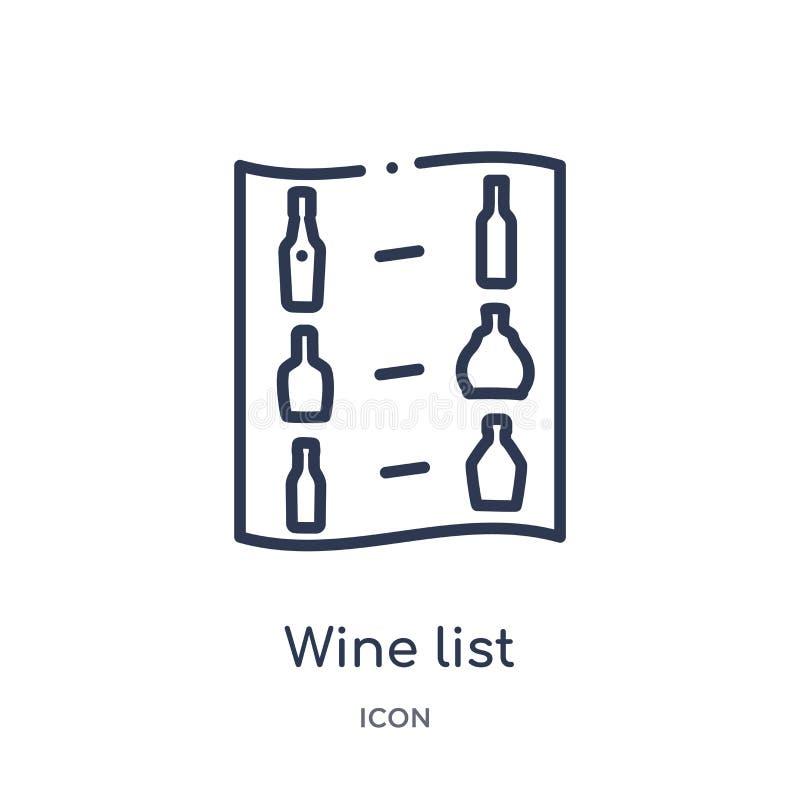 Liniowa wino listy ikona od napojów zarysowywa kolekcję Cienieje kreskowego wino listy wektor odizolowywającego na białym tle win ilustracja wektor
