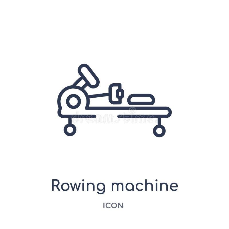 Liniowa wioślarskiej maszyny ikona od Gym i sprawność fizyczna zarysowywamy kolekcję Cienieje kreskową wioślarskiej maszyny ikonę ilustracja wektor