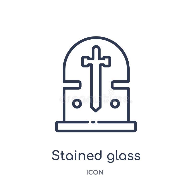 Liniowa witrażu okno ikona od Różnej kontur kolekcji Cienieje kreskową witrażu okno ikonę odizolowywającą na bielu ilustracja wektor
