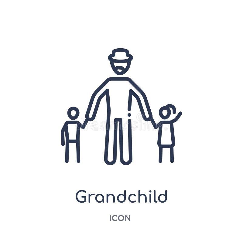 Liniowa wnuk ikona od Rodzinnych powiązań zarysowywa kolekcję Cienieje kreskowego wnuka wektor odizolowywającego na białym tle royalty ilustracja