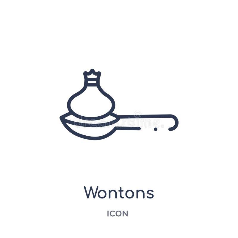 Liniowa wontons ikona od kultura konturu kolekcji Cienieje kreskowego wontons wektor odizolowywającego na białym tle wontons modn ilustracja wektor
