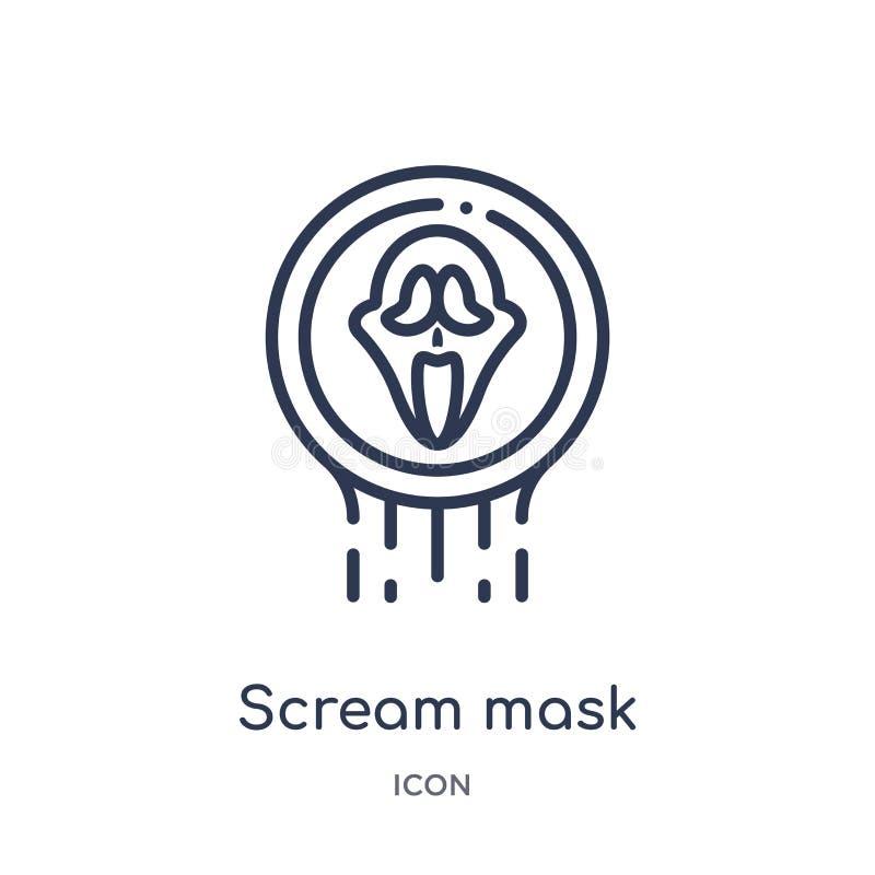 Liniowa wrzask maski ikona od logo konturu kolekcji Cienka kreskowa wrzask maski ikona odizolowywająca na białym tle wrzasku mask royalty ilustracja