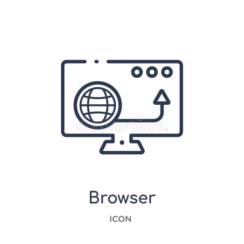 Liniowa wyszukiwarki ikona od Blogger i influencer zarysowywamy kolekcję Cienieje kreskowego wyszukiwarka wektor odizolowywająceg ilustracja wektor