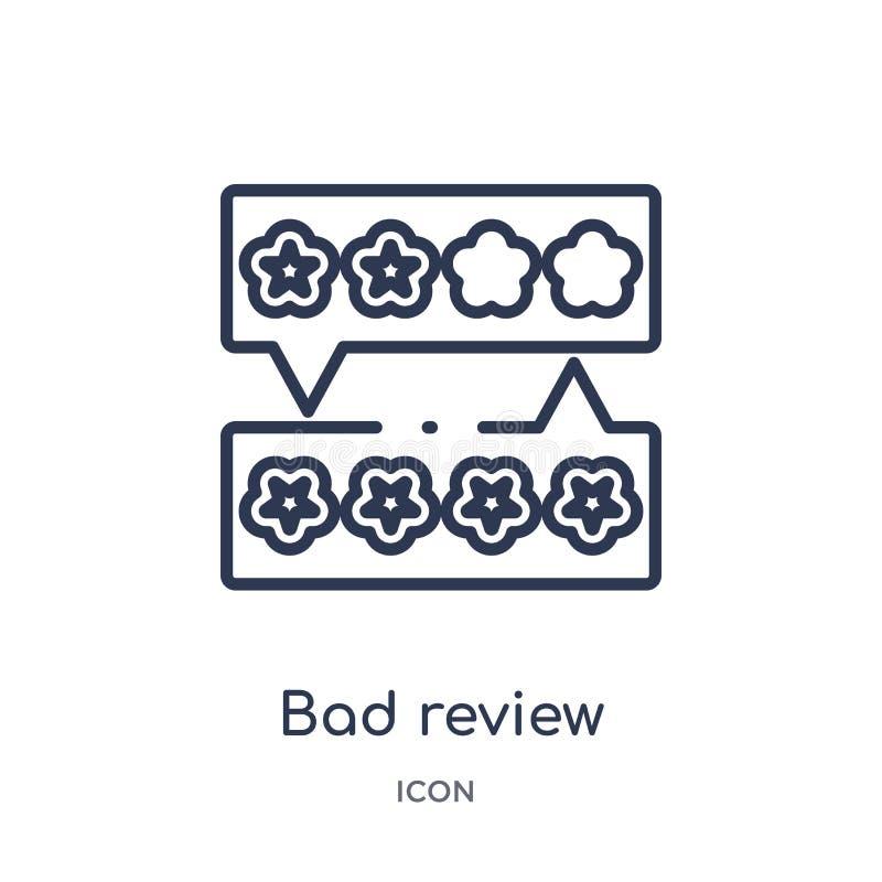 Liniowa zła przeglądowa ikona od informacje zwrotne konturu kolekcji Cienieje kreskowego złego przeglądowego wektor odizolowywają royalty ilustracja