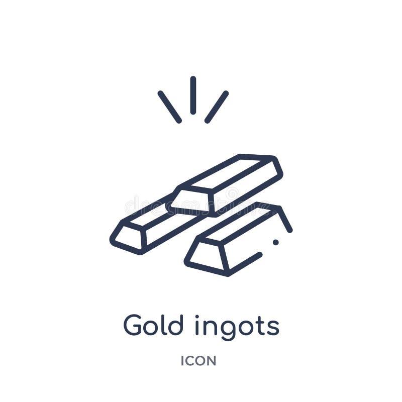 Liniowa złocista ingots ikona od Crowdfunding konturu kolekcji Cienieje kreskowego złocistego ingots wektor odizolowywającego na  royalty ilustracja