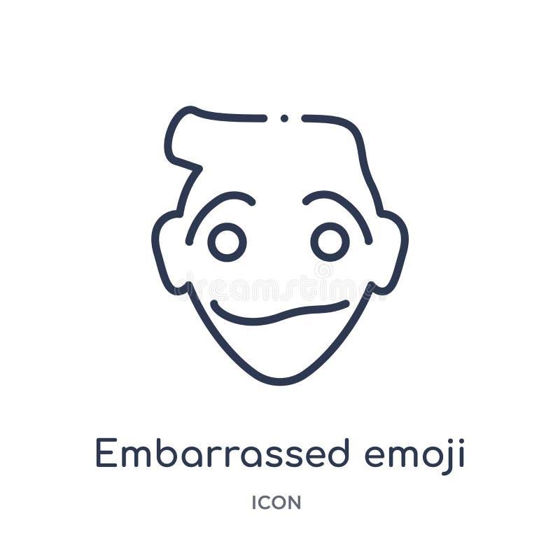 Liniowa zaaferowana emoji ikona od Emoji konturu kolekcji Cienieje linia zawtydzającego emoji wektor odizolowywającego na białym  royalty ilustracja