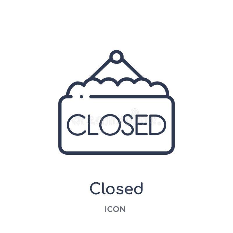 Liniowa zamknięta ikona od bistr i restauracyjnej kontur kolekcji Cienieje linia zamykającego wektor odizolowywającego na białym  ilustracja wektor