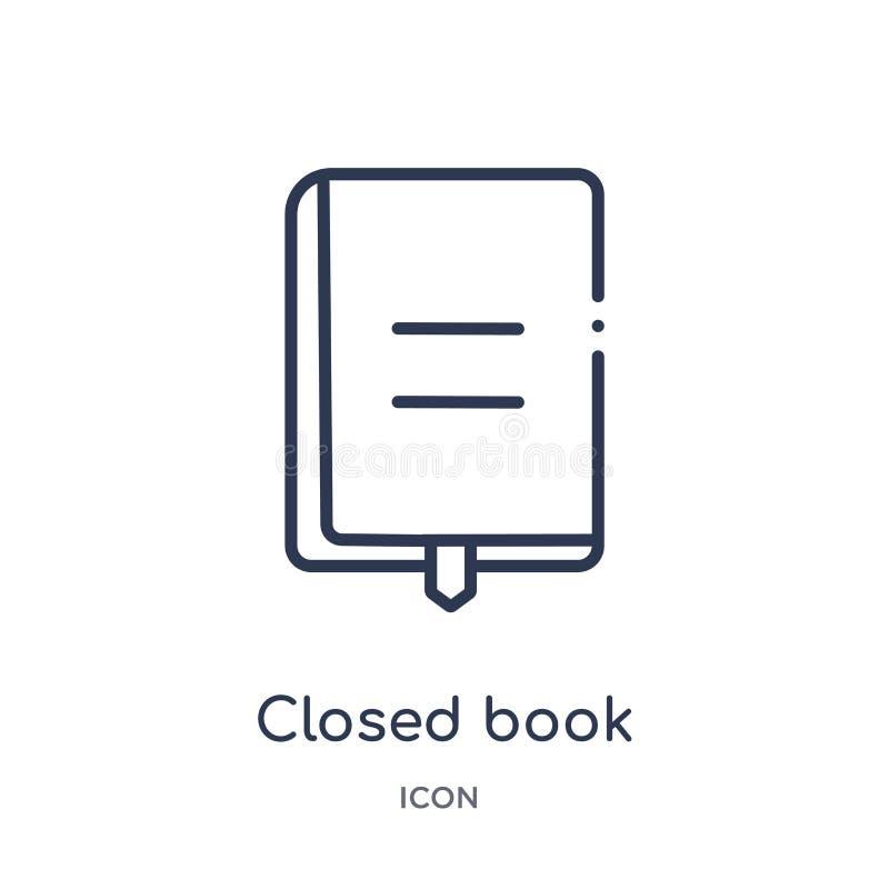 Liniowa zamknięta książka z markier ikoną od edukacja konturu kolekcji Cienka linia zamykał książkę z markier ikoną odizolowywają ilustracji