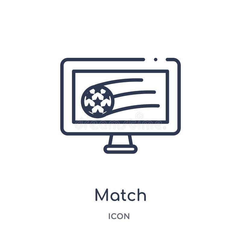 Liniowa zapałczana ikona od Futbolowej kontur kolekcji Cienki linii dopasowania wektor odizolowywający na białym tle zapałczana m ilustracji