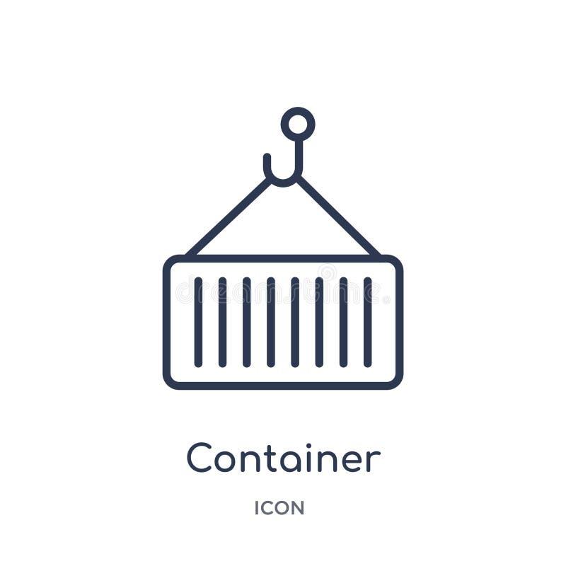 Liniowa zbiornik ikona od Doręczeniowej i logistycznie kontur kolekcji Cienieje kreskowego zbiornika wektor odizolowywającego na  royalty ilustracja