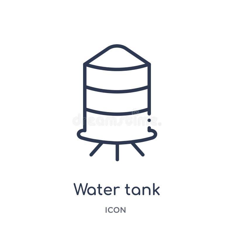 Liniowa zbiornik wodny ikona od przemysłu konturu kolekcji Cienieje kreskową zbiornik wodny ikonę odizolowywającą na białym tle z ilustracja wektor