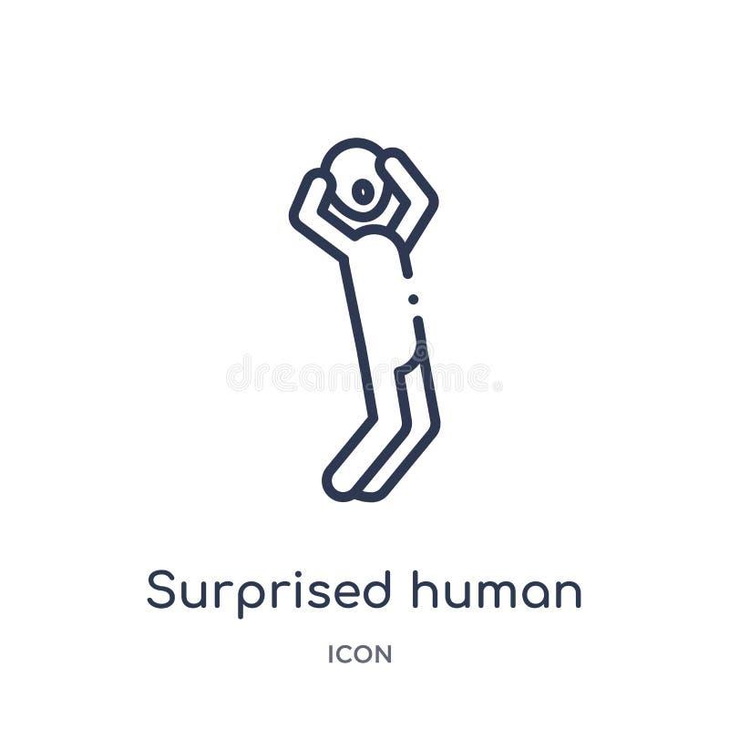 Liniowa zdziwiona ludzka ikona od uczuć zarysowywa kolekcję Cienieje kreskowego zdziwionego ludzkiego wektor odizolowywającego na royalty ilustracja